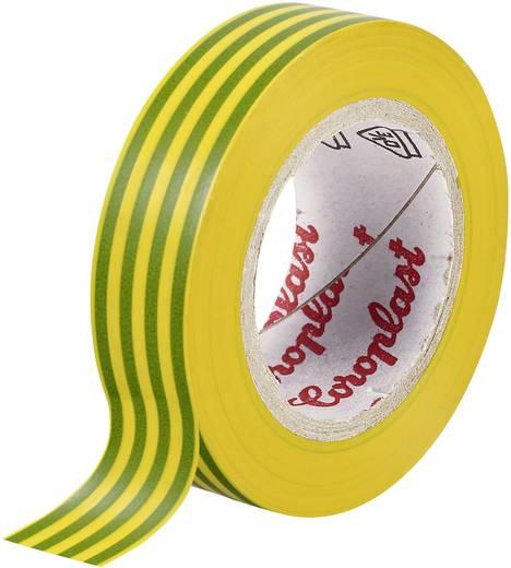PVC elektromos szigetelő szalag (H x Sz) 25 m x 15 mm, zöld/Sárga PVC 302 Coroplast, tartalom: 1 tekercs