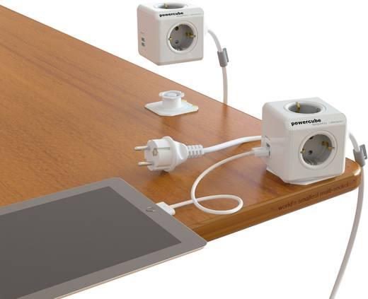 Asztali hálózati elosztó 4 részes szürke/fehér, Segula Powercube USB csatlakozóval