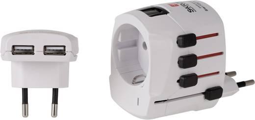 Univerzális konnektor átalakító adapter USB-s töltővel, fehér, Skross 1.302.400