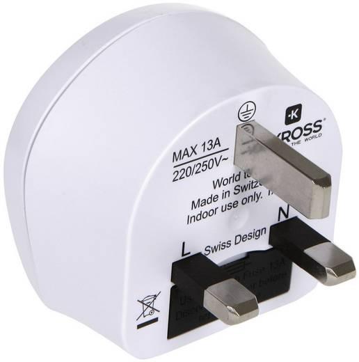Úti adapter Angol, UK/univerzális aljzat, fehér, Skross 1.500220