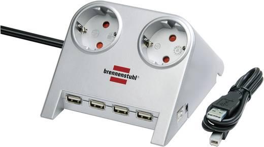 Asztali hálózati elosztó 2 részes aljzattal 4db USB csatlakozóval, ezüst, Brennenstuhl 1153540122
