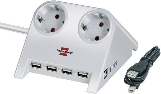 Asztali hálózati elosztó 2 részes aljzattal 4db USB csatlakozóval, fehér, Brennenstuhl 1153520122