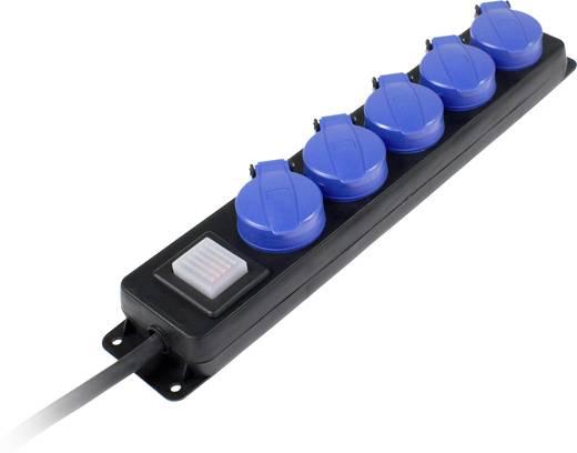 Kapcsolós hálózati elosztó, 5 részes, 1,5 m, IP44, fekete/kék, H07RN-F 3G 1,5 mm², AS Schwabe 38609