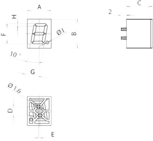7 szegmenses kijelző, szám magasság: 7,62 mm, Mentor 2274.1004