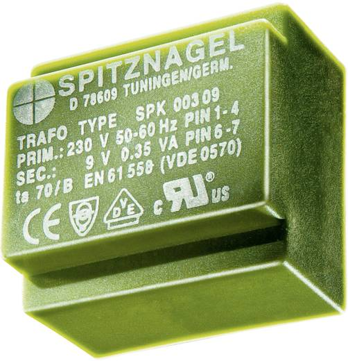 El 38/13 Nyák transzformátor SPK, 230 V / 2 x 9 V 2 x 211 mA 3,8 V, ASPK 0380909 Spitznagel