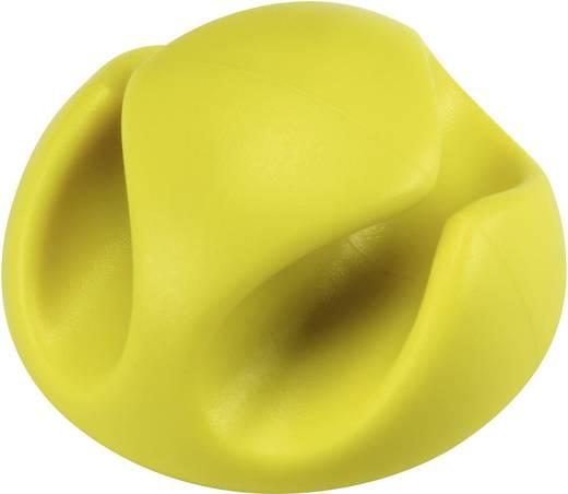 Kábeltartók, öntapadó, sárga, tartalom: 1 db