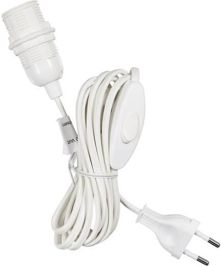 Beltéri lámpafoglalat kapcsolóval E14, fehér vezeték 4 m, Saico