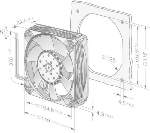 Axiális ventilátor 12 V/DC 225 m³/h 119 x 119 x 25 mm EBM Papst 4412 FNH