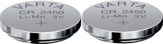 CR2450 lítium gombelem, 3 V, 560 mA, 2 db, Varta BR2450, DL2450, ECR2450, KCR2450, KL2450, KECR2450, LM2450
