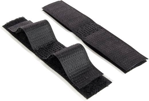 Tépőzár Felragasztáshoz Bolyhos és horgos fél (H x Sz) 100 mm x 20 mm Fekete Velcro E1400027533010 1 db