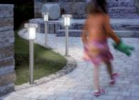 Napelemes LED-es kerti álló lámpa mozgásérzékelővel, max. 8 óra, rozsdamentes acél, Esotec Ancona 102400 Esotec