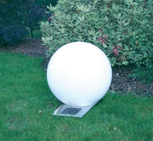 Napelemes kerti lámpa, kültéri LED-es dekor lámpa, gömb, fehér, RGB, 30 cm, Esotec Trendy 106042