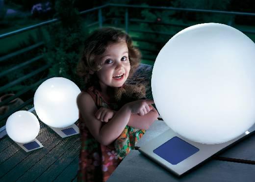 Napelemes kerti lámpa, kültéri LED-es dekor lámpa, gömb, fehér, RGB, 50 cm, Esotec Trendy 106046