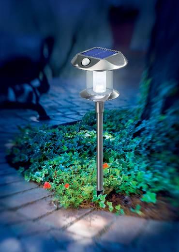 Napelemes, leszúrható LED-es kertilámpa mozgásérzékelővel, max. 8 óra, rozsdamentes acél, Esotec Sunny 102095