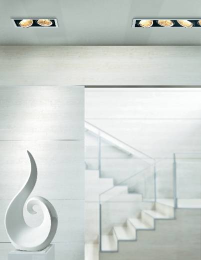 Downlight, beépíthető, 4 x 100 W, G5.3, AR111, halogén fényforrás, fekete-fehér, Sygonix Croux 34866R