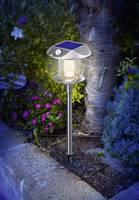 LED-es leszúrható napelemes kerti lámpa, mozgásérzékelővel, rozsdamentes acél, Esotec Sunny 102092 Esotec