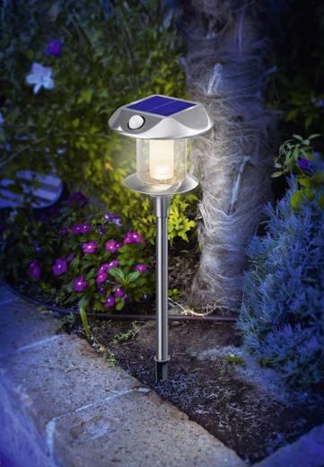 Napelemes, leszúrható LED-es kertilámpa mozgásérzékelővel, 2 x 1,2 V 900 mAh AA, IP44, rozsdamentes acél, Esotec 102092