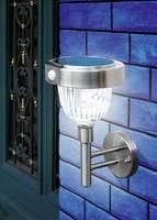 Napelemes, falra szerelhető LED-es kertilámpa mozgásérzékelővel, 3 x 1,2 V 900 mAh AA, IP44, rozsdamentes acél, Esotec A Esotec