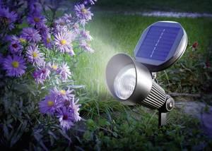 Napelemes, falra szerelhető/leszúrható LED-es kerti spotlámpa, 2 x 1,2 V 900 mAh, IP44, fekete, Esotec 102138 Esotec