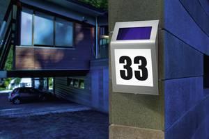 Napelemes LED-es házszámtábla, max. 100 óra, IP34, rozsdamentes acél, Esotec Style 102034 Esotec