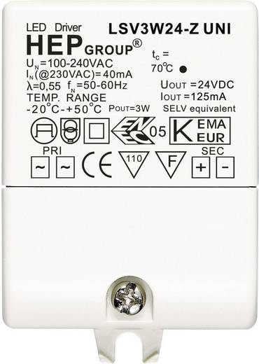 LED meghajtó, 3 W, 24 VLSV3W24-Z UNI Fehér