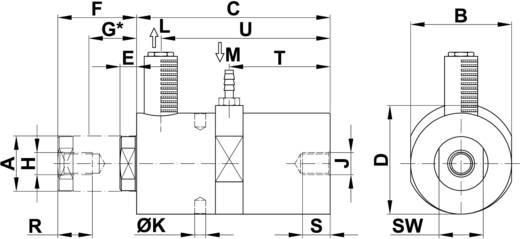 Netter Vibration Dugattyús vibrátor, NTK, frekvencia (6 bar) 1986 Hz Centrifugális erő (6bar) 269 N 1,24 cm/kg
