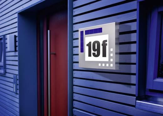 Napelemes LED-es házszámtábla, max. 100 óra, IP34, rozsdamentes acél, Esotec 102037