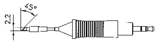 Weller RT pákahegy, forrasztóhegy RT7 kerek formájú, egyoldalt lapított hegy 2.2 mm