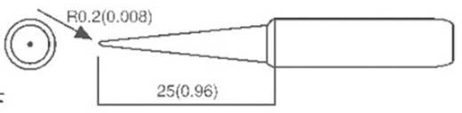 Toolcraft ST 50/ST80 forrasztópákákhoz való ceruzahegy formájú, központosított csúcs pákahegy, forrasztóhegy 0.2 mm