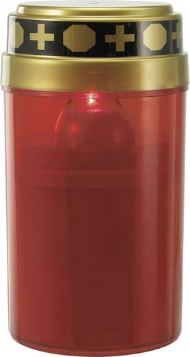 LED-es sírmécses, időjárás álló LED-es gyertya, piros színű Grablicht