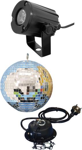 Tükörgömb készlet LED-es spottal, 20 cm, eurolite 50101856