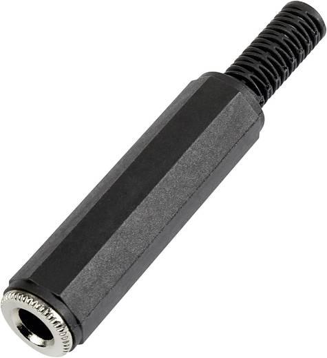 Jack csatlakozó, 6,35 mm alj, egyenes pólusszám: 2 Mono fekete 1 db