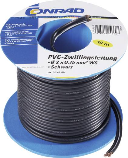 H03VH-H, PVC-ikervezeték, kiszerelve 2 x 0,75 mm² gn/ge nélkül Fekete 20 m-es tekercsben szállítjuk. Tru Components