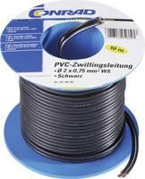 PVC huzal 2 x 0,75 mm², fekete, 10 m, Tru Components (1565082) TRU COMPONENTS