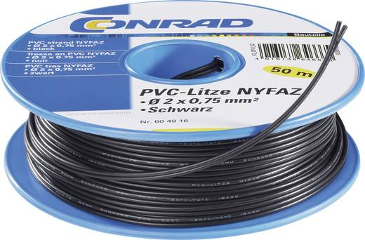 PVC szigetelésű ikerlitze, NYFAZ/CCA 2 x 1,5 mm² Fekete 50 m Tru Components