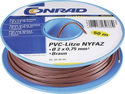 PVC szigetelésű ikerlitze, NYFAZ/CCA 2 x 0,75 mm² Barna 50 m Tru Components
