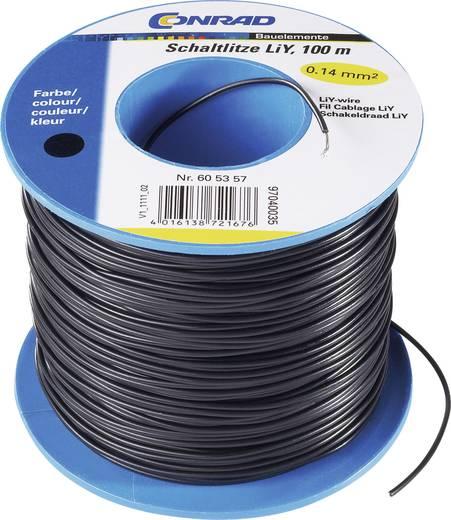 Tru Components LiY kapcsolóvezeték 1x0,14mm², fekete, 100m
