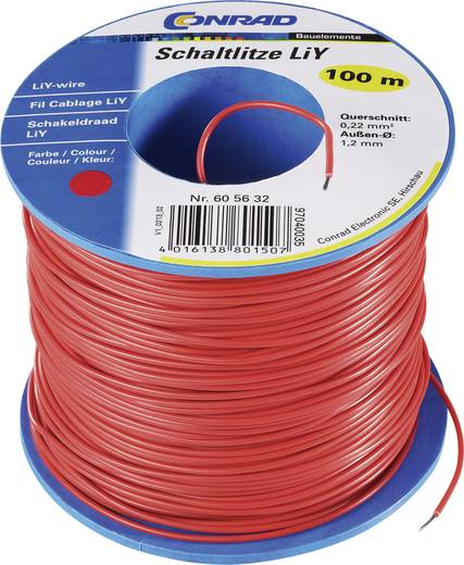 LiY 1 x 0.22 mm² Piros Tru Components SH1998C372 100 m
