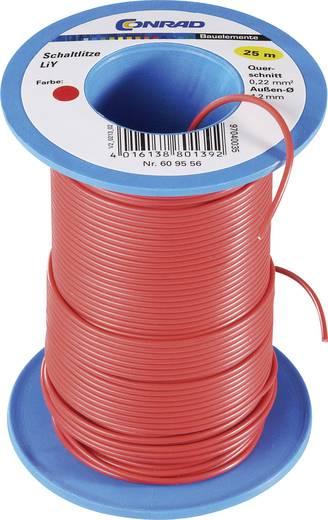 Tru Components LiY kapcsolóvezeték 1x0,14mm², piros, 25m