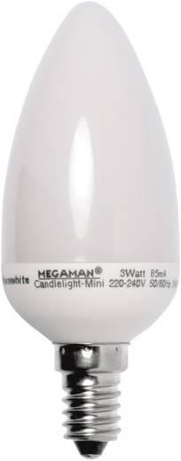Energiatakarékos lámpa 105 mm Megaman 230 V E14 3 W = 15 W Melegfehér EEK: B Gyertya forma Tartalom, tartalmi egységek rendelésenként 1 db