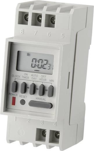 Sínre szerelhető időkapcsoló óra, DIN sínes digitális heti időkapcsoló 250V/16A 8 program Conrad Components TM-848-2