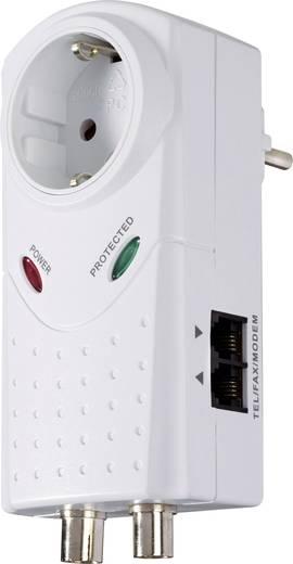 Konnektorba dugható túlfeszültségvédős dugalj + SAT/telefon, fehér, 4,5 kA