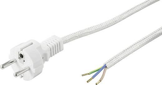 Textil vasaló kábel, szerelhető hálózati tápkábel [földelt dugó - szereletlen kábelvég] 3m fehér színű Goobay