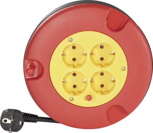 Kábeldob 5 m, piros-sárga, 4 részes, H05VV-F 3 G 1,5 mm², 230V