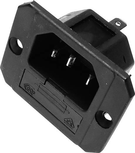 Beépíthető hálózati műszercsatlakozó dugó biztosítékkal, függőleges, 3 pól., 6,3 A, fekete, C14, Kaiser 750/sw
