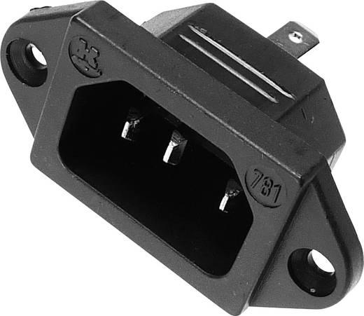 Beépíthető hálózati műszercsatlakozó dugó, függőleges, 3 pól., 10 A, fekete, C14, Kaiser 781/sw
