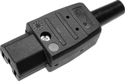 Lengő hálózati műszercsatlakozó aljzat, 3 pól., egyenes, 10 A, fekete, C15, Kaiser 783/sw