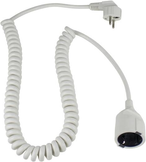 Hálózati hosszabbítókábel spirálkábellel 2,5 m, fehér, HO5VV-F 3 G 1,5 mm², AS Schwabe 70412
