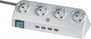Hálózati elosztó 4 részes, kapcsolós  asztalra tehető, USB-hubbal, ezüst, Brennenstuhl 1153540134 Brennenstuhl