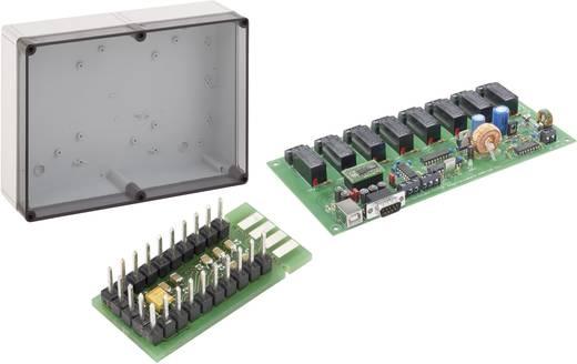 Készlet, 8 csatornás relékártya, 230 V/AC 16 A + átalakító panel, USB-ről RS232-re + TK műanyag ház